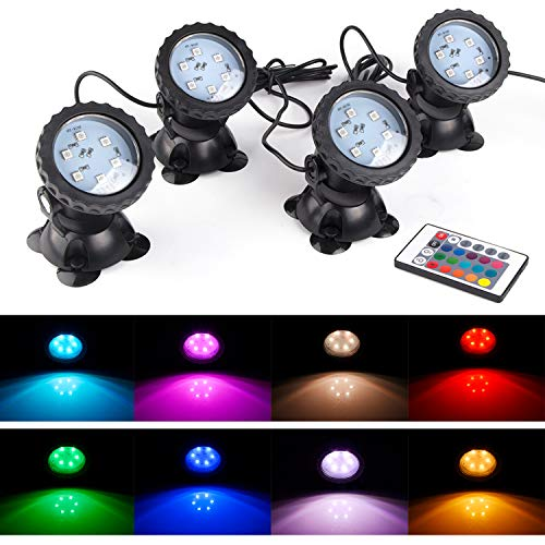 S SMIFUL Pond Light IP68 Submersible Spotlight Remote Control 6 Bright LED Chips RGB Color Changing Waterproof Lawn Spot Light for Aquarium Garden Pond Pool Tank Fountain Waterfall (Set of 4) (Best Submersible Pond Lights)