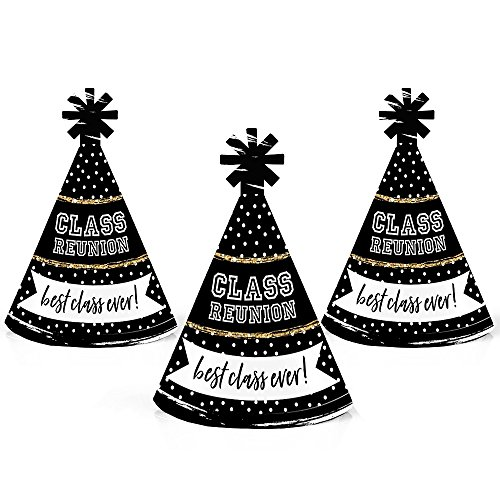 (Reunited - Mini Cone School Class Reunion Party Hats - Small Little Party Hats - Set of 10 )