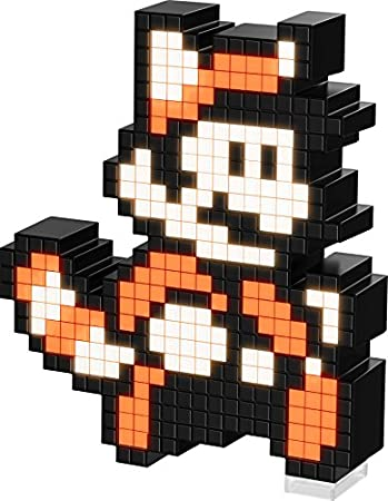 PDP Pixel Pals Nintendo Super Mario Bros 3 Raccoon Mario Collectible Lighted Figure, 878-032-NA-TNM