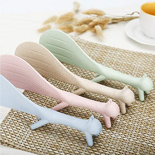 4Piece Creative Household Kitchen Tools,Lovely Squirrel Shape Standing Spoon Non-stick Rice Spoon Fashion Rice Cooker Dishes Filled Scoop Shovel