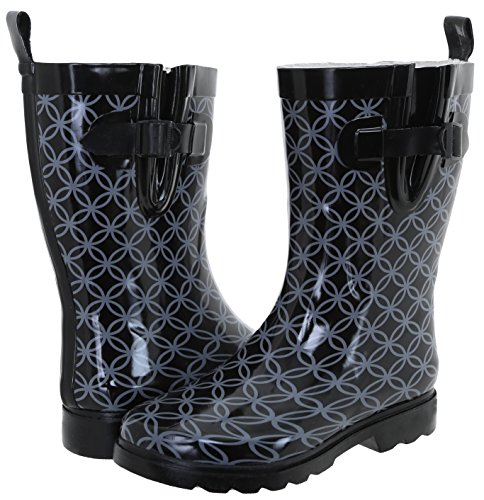 New Geo Boot Circle Capelli Combo Rain Black Mid Rubber York Print Ladies Calf Tngdx4WO