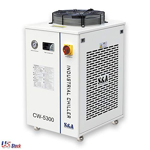 US Stock - 110V S&A CW-5300DI Industrial Water Chiller for 1 x 200W CO2 laser, 100W Laser Diode, 75W Solid-state Laser, 18KW CNC Spindle