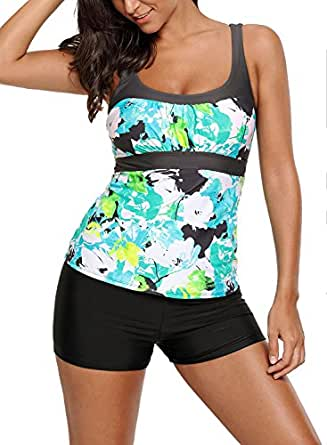 Sidefeel Women Strap Abstract Printed Camisole Tankini Swim Top Large Green