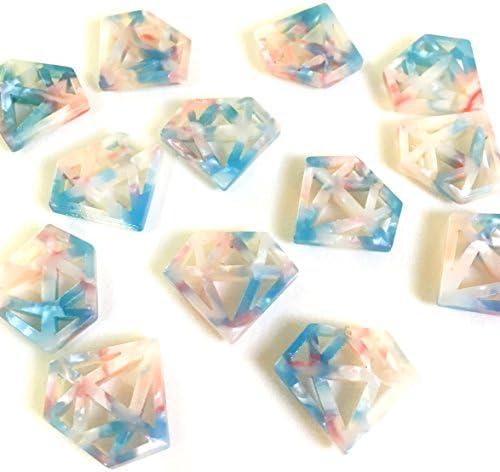 宙色べっこうパーツ 10個 宝石 樹脂製チャーム アクセサリーパーツ ハンドメイド 手芸材料