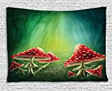 Cheap Ambesonne Green Tapestry Flowers and Mushroom Decor, Shrooms in Enchanted Forest Magical Mystery Path in Fairy Land, Bedroom Living Room Kids Room Dorm Wall Hanging Art, 80 W X 60 L, Green Red