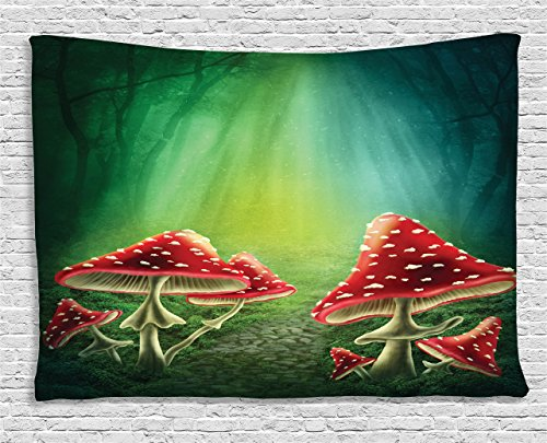 Green Tapestry Flowers and Mushroom Decor by Ambesonne, S...