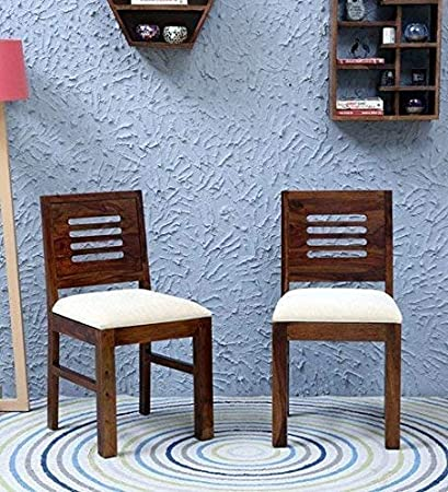 Nisha Furniture Sheesham Wood Dining Chairs Wooden Set Of 2 Wooden Chairs With Cushion Home Dining Room Furniture Walnut Finish