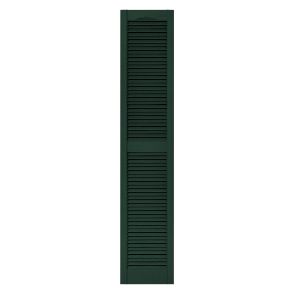 Builders Edge 12 in. x 60 in. Louvered Vinyl Exterior Shutters Pair in #122 Midnight Green