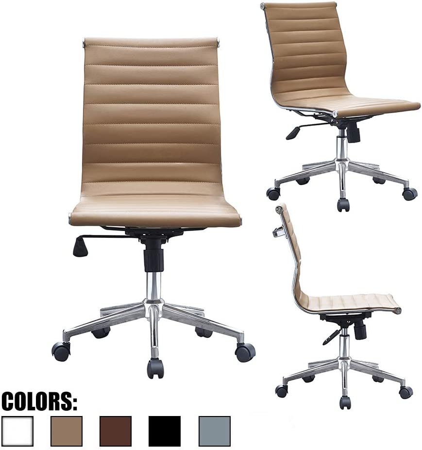 2xhome Tan Mid Century Modern Contemporary Executive Office Chair Mid Back PU Leather No Arm Rest Arms Tilt Adjustable Height with Wheels Back Support Task Work Chrome Manager Armless Begie Ergonomic