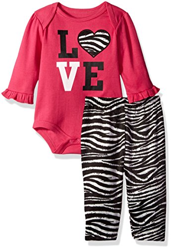 BON BEBE Girls' 2 Piece Lap Shoulder Bodysuit and Velour Legging Set, Love Hot Pink, 3-6 Months