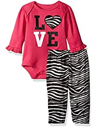 Baby Girls' 2 Piece Lap Shoulder Bodysuit and Velour Legging Set