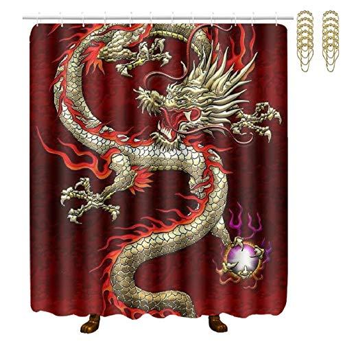 POP MKYTH Shower Curtains for Bathroom, Red Chinese Dragon Dragon Ball, 60x70 Inch Durable Waterproof Bath Curtain Sets -Shower Curtain Liner Decor for Home/Hotel/Spa/Bathtubs