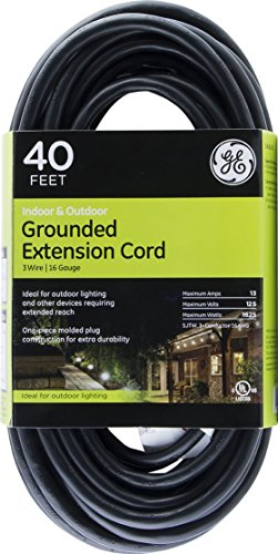 - GE 40 ft Extension Cord, Outdoor, Heavy Duty, Ideal for Outdoor Lighting, Grounded, Double Insulated Cord, Long Life, UL Listed, Black, 36826