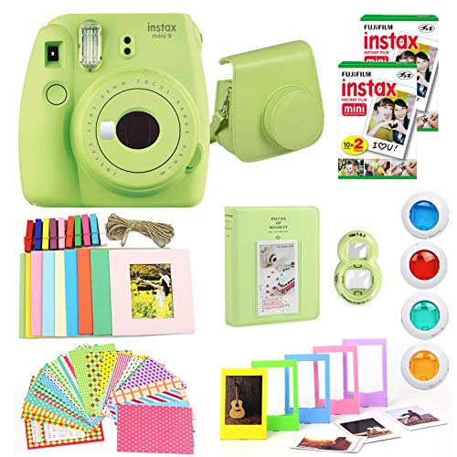 Fujifilm Instax Mini 9 Instant Camera + Fuji Instax Film (40 Sheets) + Carrying Case, Photo Album, Stickers, Close Up Lens + More (Lime Green) (Renewed)