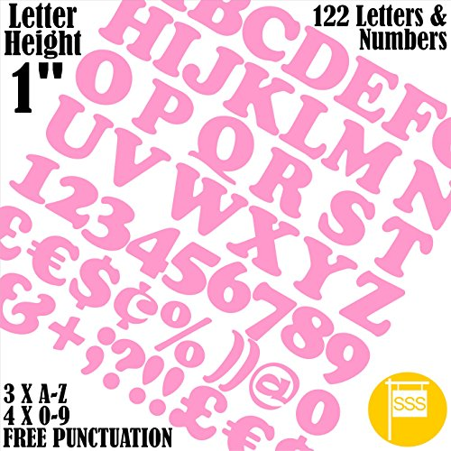 122 Letters and Numbers/Font Cooper/Size Aprox 1in/25mm Vinyl Stickers (Pink)