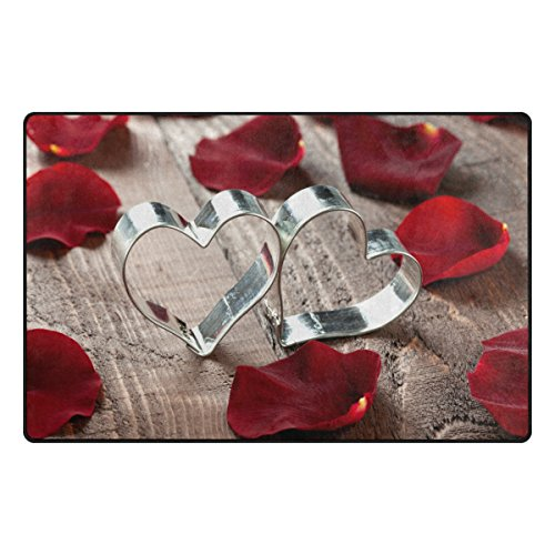 Doormat Front Door Mats Outdoor Inside Mats Personalized Welcome Mats with Heart-Shaped Ring And Rose Petals for Chair Mat and Decorative Floor Mat for Office and Home (31 x 20 in & 60 x 39 in)