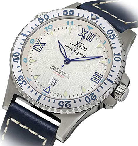 Xezo Men's Air Commando D-45 SSL Japanese-Automatic Dive Luxury Watch (2Nd Time Zone)