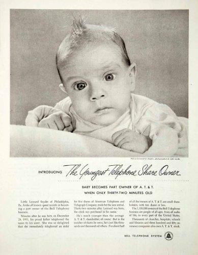 1952-ad-attt-bell-telephone-system-leonard-a-snyder-baby-stock-pennsylvania-original-print-ad
