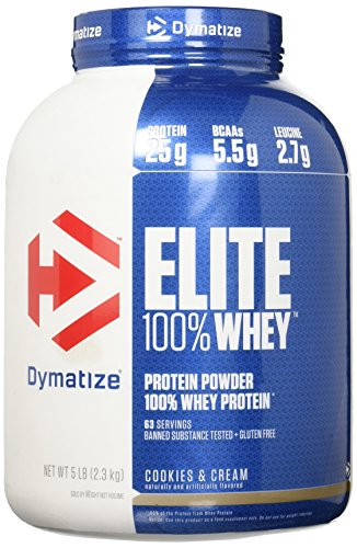 Dymatize Elite 100% Whey Protein, Cookies & Cream, 5 lbs