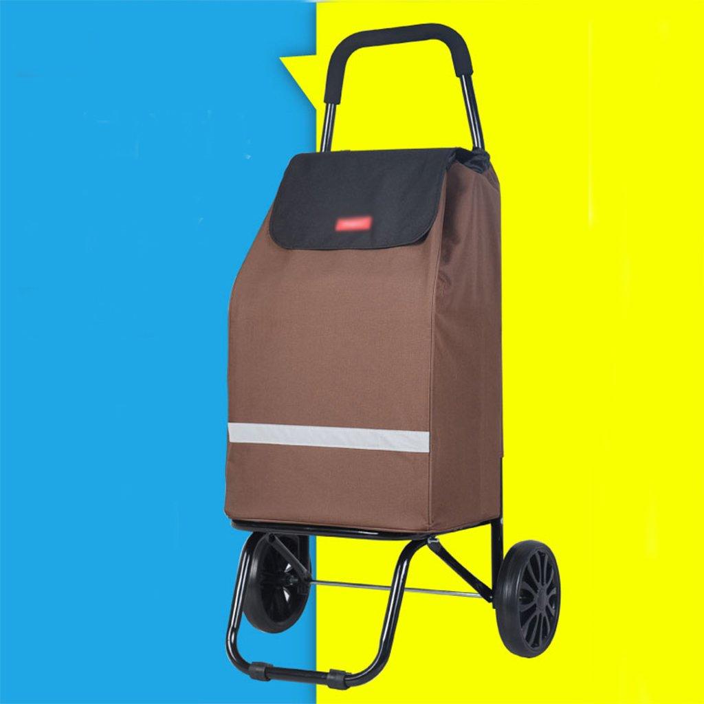 折りたたみ式ショッピングカート高齢者用小型トレーラーポータブルプルロッドカートスーツサイレント軽量ホイール付きショッピングカート (色 : ブラウン ぶらうん) B07F1P3X41 ブラウン ぶらうん ブラウン ぶらうん