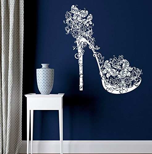 High Heel Shoe Decorated with Butterflies Swirls Decor Wall Mural Vinyl Decal Art Sticker M385 22.5 in by 27.5 in