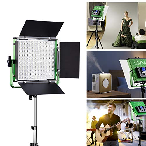 (GVM LED Video Light Panel CRI97 Dimmable Bi-Color LED Video Light with LCD Display for Product Photography, Studio Video Shooting, U Bracket and Barn-door, Carry Bag)