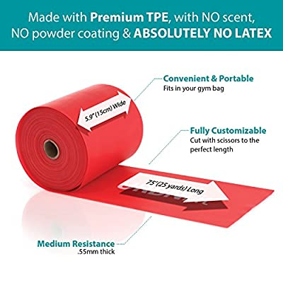 URBNFit Professional Resistance Bands - 25 Yards (75ft) Latex-Free Elastic Exercise Fitness Band Roll - No Scent, No Powder - Perfect for Physical Therapy & Rehab, Yoga, Pilates