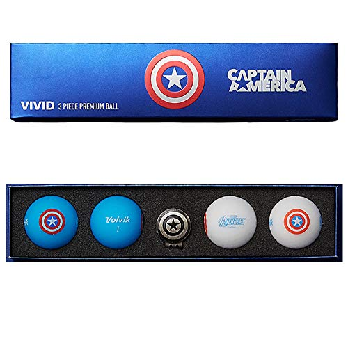 Volvik Vivid Marvel Golf Balls Captain America 4-Ball Pack Blue/White