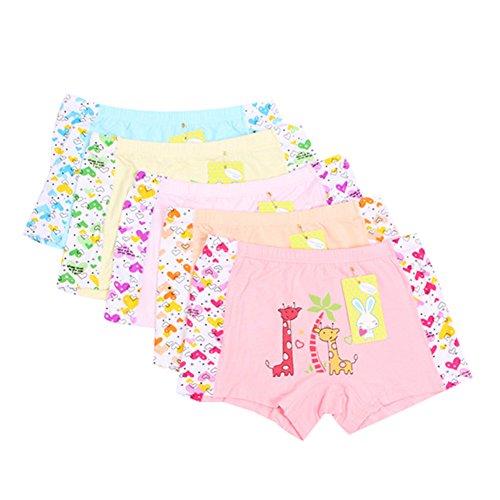 Goodkids Cartoon Sweet&Cute Breathable Trim Cotton Boxer Briefs Five Colours Short Underwear Panties for Baby Girl (M, Set-5)
