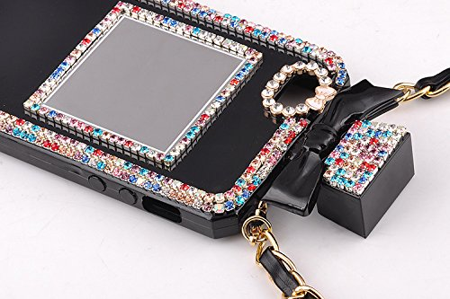 YiMoo TPU Case for iPhone 6 Plus (5.5). Unique Handmade Auger Crystal Perfume Bottle Shaped with Chain Handbag Telephone Case Bowknot Style Black Shell Colorful Stones