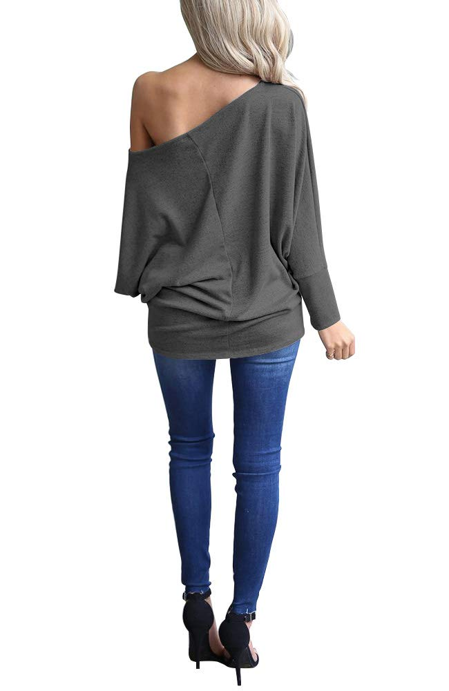 acbf474c6d13ab ... Sleeve Knit Jumper Oversized Tunics Top. INFITTY-Womens-Off-Shoulder- Loose-Pullover-Sweater-Batwing-