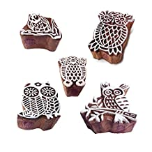 Traditional Pattern Assorted and Owl Wood Block Stamps (Set of 5)