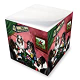 Home of Australian Shepherds 4 Dogs Playing Poker Note Cube