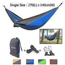 Emolli Single/Double Camping Hammocks,Garden Hammocks Ultralight Nylon Portable Hammock,Multifunctional Parachute Hammock For Backpacking,Camping,Travel,Beach,Yard.