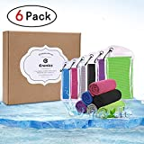 Crenics 6 Pack Cooling Towel 40x12 Inches, Ice Towel, Soft Breathable Chilly Towel, Microfiber Towel for Yoga, Sport, Running, Gym, Workout,Camping, Fitness, Workout and More Activities