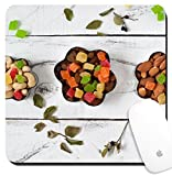 Luxlady Suqare Mousepad 8x8 Inch Mouse Pads/Mat design IMAGE ID: 37205280 Almonds cashews raisins and colored pineapple in a cookie cutters On a white background with l