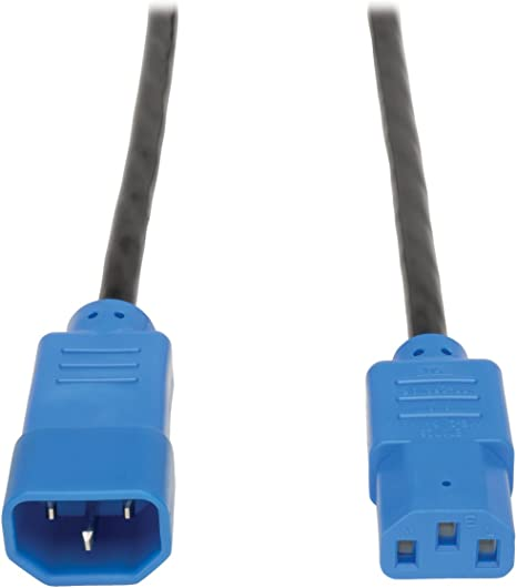 Tripp Lite 6ft Computer Power Extension Cord 10A 18 AWG C14 to C13 Blue 6/'