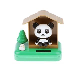 MagiDeal Giocattolo Energia Solare Oscillante Testa Panda Bobbling Ornamento Decorazione Casa Plastica - Bianca