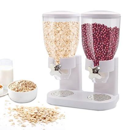 Doble cámara hermética dispensador de cereales y alimentos secos con construido en derrames bandeja para hogar