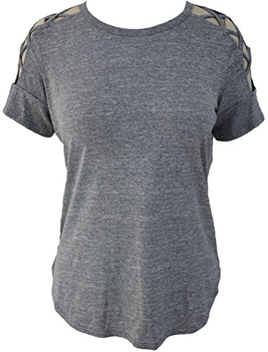 YeeATZ Women Grey Crisscross Detail Short Sleeve T-shirt (Cute Toga Ideas)