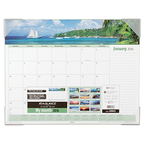 (AT-A-GLANCE Desk Pad Calendar 2016, Seascape Panoramic, 21-5/8 x 16-7/8 Inches)