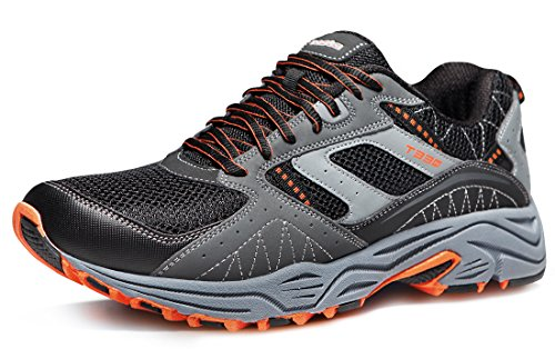 TSLA Men's Outdoor Sneakers Trail Running Shoe, Outdoor(t330) - Light Grey & Orange, -