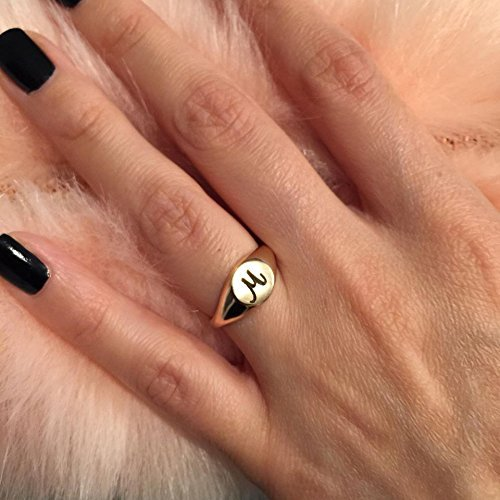 Personalized Gold Signet Ring, Women Pinky, Handmade Design