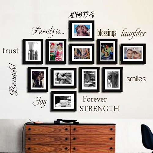 Family Wall Decal-Classic-Set of 10 Family Words Quote Family Wall Sticker Picture Wall Decal  (The Picture. No Photos Included) (Photo Wall Decal)