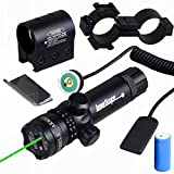 Higoo Tactical Green Laser Dot Sight, Shockproof 532nm Rifle Gun Laser Scope w/ Rail & Barrel Mount Cap Pressure Switch & Battery