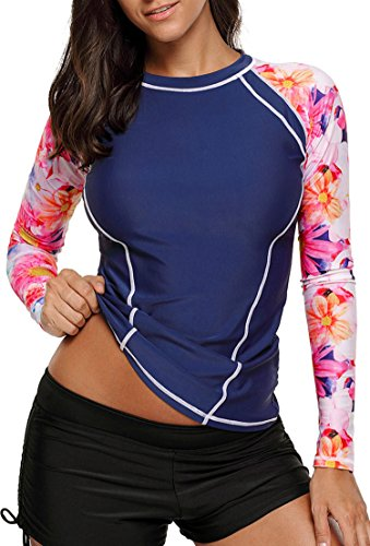 Aleumdr Womens Long Sleeve Rashguard Swimwear Printed Rash Guard Wetsuit Athletic Tops Surfing Shirt Swimsuit No - Top 10 Wetsuits