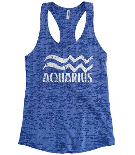 Cybertela Women's Distressed Aquarius Sign Burnout Racerback Tank Top (Royal, Small) ()