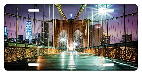 Ambesonne Landscape License Plate, Brooklyn Bridge Pedestrian Walkway Before Sunrise American Landmark Picture, High Gloss Aluminum Novelty Plate, 5.88 L X 11.88 W Inches, Purple Brown ()