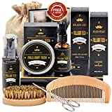 Beard Kit for Men Grooming & Care W/Beard Wash/Shampoo,Unscented Beard Growth Oil,Beard Balm Leave-in Conditioner,Beard Comb,Beard Brush,Beard Scissor,Valentines Day Gifts for Him/Boyfriend/Husband