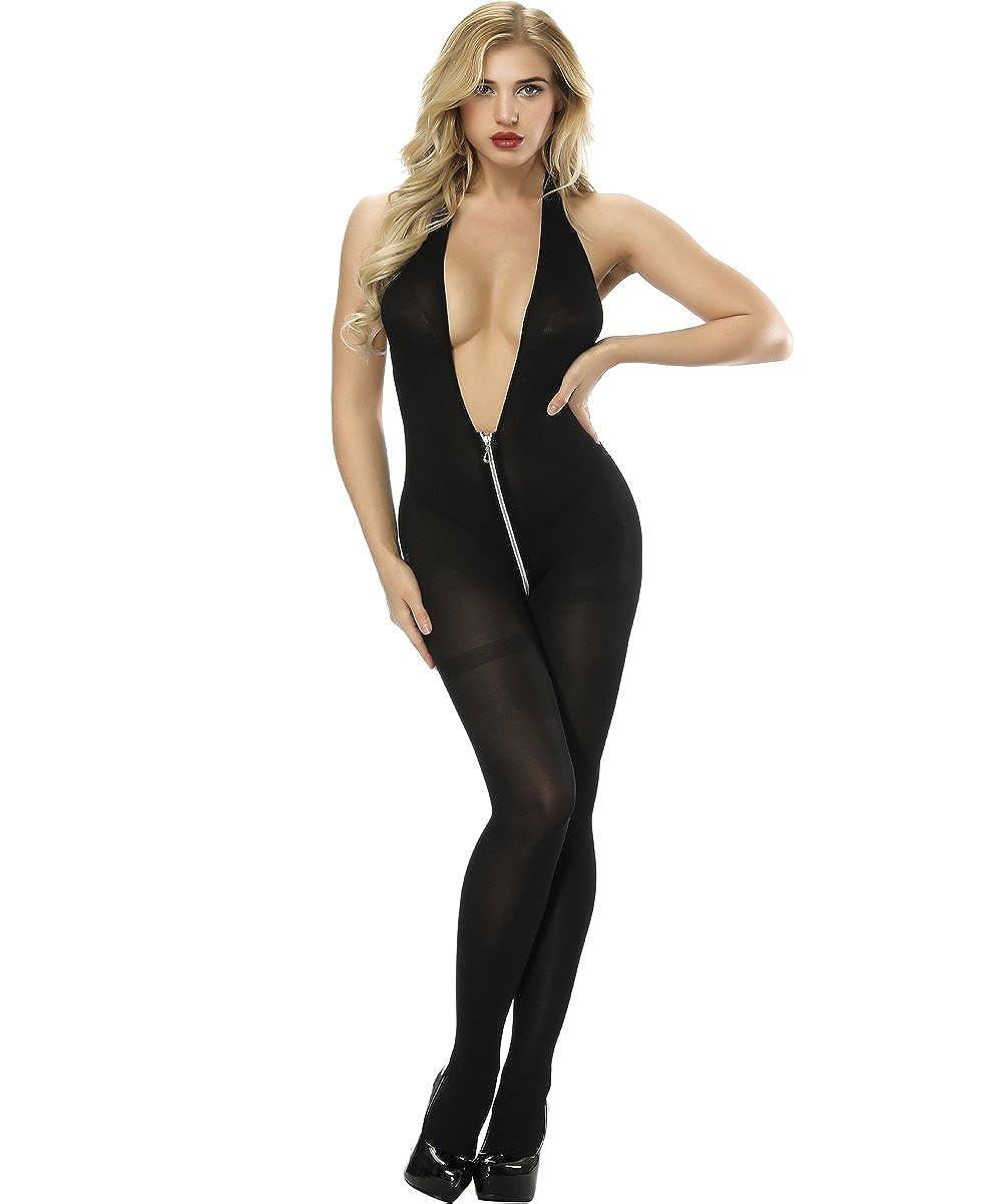 6f8f473713 Amazon.com  Xinkaishi Women s Semi-Opaque Bodystocking with Front to Back  Zipper Bodysuit  Clothing